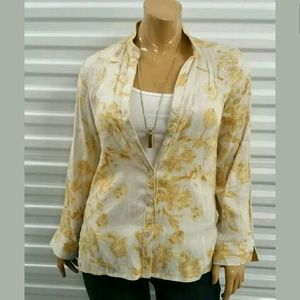 Rafaella Tops - Rafaella Yellow Floral Linen Button Down Shirt